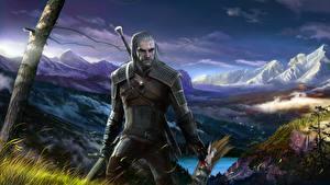 Обои The Witcher 3: Wild Hunt Мужчины Воители Геральт из Ривии Игры Фэнтези фото