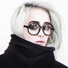 Фото Рисованные Блондинка Очки Взгляд Лицо Девушки
