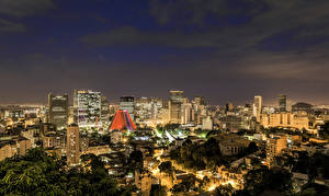 Фото Бразилия Дома Рио-де-Жанейро Мегаполис Ночные