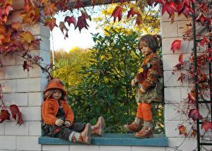 Обои Парки Осенние Куклы Двое Девочки Листва Grugapark Essen Природа