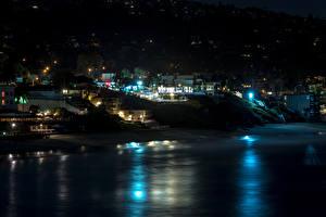 Обои США Побережье Дома Калифорния Ночь Laguna Beach Города фото