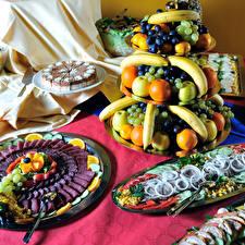 Обои Сервировка Фрукты Сладости Мясные продукты Морепродукты Дизайн Еда фото