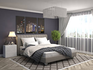 Обои Интерьер Дизайн Спальня Кровать Лампа Люстра фото