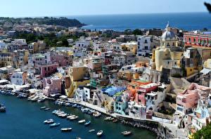 Фотографии Италия Дома Причалы Лодки Катера Procida Города