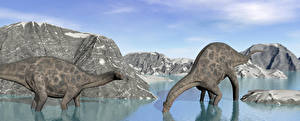 Фото Динозавр Горы Вода Вдвоем Животные 3D_Графика