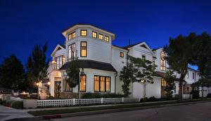 Обои США Дома Особняк Дизайн Ночь Larkspur Newport Beach Города фото