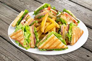 Обои Быстрое питание Бутерброды Картофель фри Сэндвич Тарелка