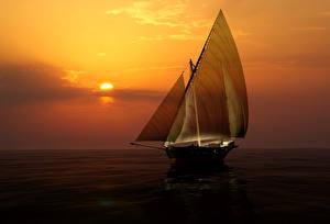 Фотографии Корабли Парусные Море Рассветы и закаты