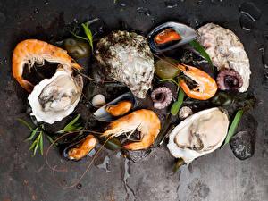 Обои Морепродукты Креветки Еда фото