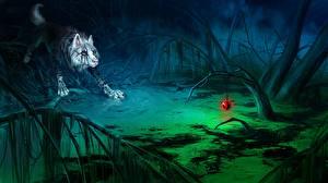 Картинка Волшебные животные Волки Игрушка Ночь Болото Фантастика
