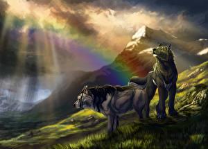 Обои Волки Горы Вдвоем Радуга Фэнтези