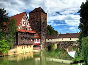 Картинка Германия Дома Реки Мосты Нюрнберг