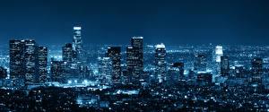 Обои США Небоскребы Лос-Анджелес Мегаполис Ночь Города фото