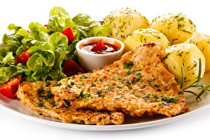 Обои Вторые блюда Мясные продукты Картофель Кетчуп Еда фото