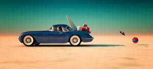 Обои Синий Сбоку Чемодан Мяч 3D Графика Автомобили