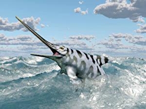 Картинки Рыбы Море Небо Облака Eurhinosaurus 3D_Графика