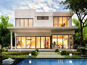 Обои Дома Особняк Дизайн Кусты 3D Графика фото