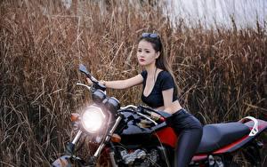 Обои Азиатки Девушки Мотоциклы фото