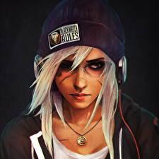 Обои Overwatch Блондинка Шапки Наушники Лицо Очки Casual Reaper, Blizzard Игры Девушки