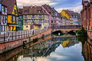 Обои Франция Дома Мосты Водный канал Colmar Alsace Города фото
