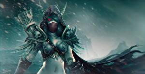 Обои Эльф Воин World of WarCraft Маски Капюшоном Sylvanas, Windrunner компьютерная игра Девушки