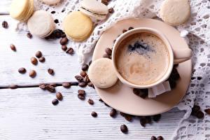 Обои Кофе Чашка Макарон Зерна Еда фото