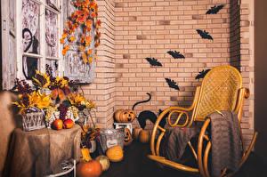 Обои Интерьер Праздники Хеллоуин Тыква Яблоки Виноград Дизайн Кресло фото