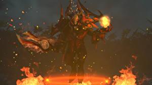 Обои DOTA 2 Doom Dota 2 Демоны Огонь Игры Фэнтези фото