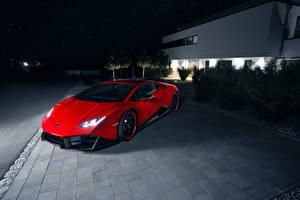 Картинка Ламборгини Красный Роскошные 2016 Novitec Torado Lamborghini Huracan LP 580-2 Автомобили