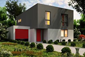 Обои Дома Особняк Дизайн Кусты Города 3D_Графика фото