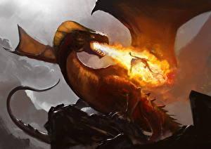 Обои Драконы Огонь Крылья Фэнтези фото
