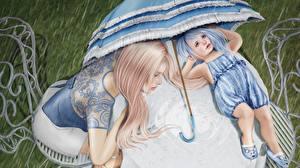 Фотография Рисованные Зонт Вдвоем Девочки Ребёнок