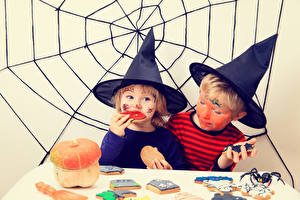 Фотографии Хэллоуин Двое Мальчик Девочки Шляпе Паутин ребёнок