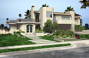 Обои Дома Ландшафт Малибу Калифорния Особняк Дизайн Кусты Города фото