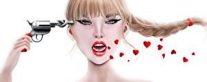 Фотография Пистолеты Коса Лицо No Violence Against Women 3D Графика Девушки