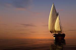 Фотографии Корабли Парусные Море Рассветы и закаты 3D Графика