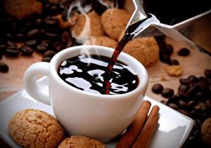 Картинка Кофе Печенье Чашка Зерна Пар Продукты питания