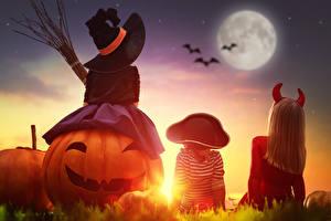 Фотографии Хэллоуин Тыква Девочки Мальчики Шляпе Луны ребёнок