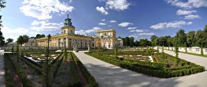 Обои Польша Парки Небо Варшава Дворец Кусты Palace Warsaw Города фото