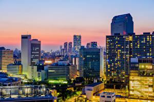 Фотография Токио Япония Здания Вечер
