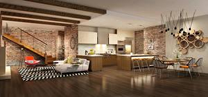 Обои Интерьер Дизайн Стол Стулья Потолок 3D Графика фото