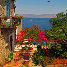 Обои Греция Дома Море Hydra Города фото