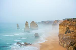 Обои Побережье Австралия Море Скала Природа фото