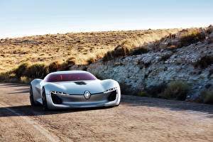 Обои Renault Серебристый Спереди 2016 Trezor Concept Автомобили фото