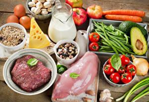 Картинки Мясные продукты Сыры Молоко Овощи Фрукты Курятина Кувшин Продукты питания