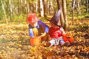 Обои Осень Хеллоуин Мальчики Двое Шляпа Листья Дети фото