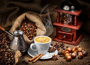 Фото Кофе Орехи Корица Кофемолка Чашка Зерна Турка Еда