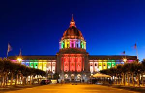 Картинки Дома США Ночь Сан-Франциско town council Города