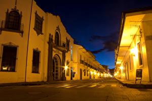 Обои Дома Колумбия Улица Ночью Уличные фонари Popayan