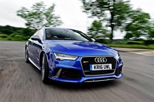 Картинки Audi Синяя RS 7 автомобиль